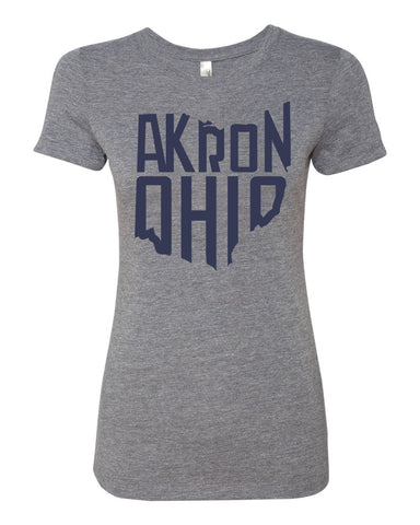 Akron- Women's Navy on Grey