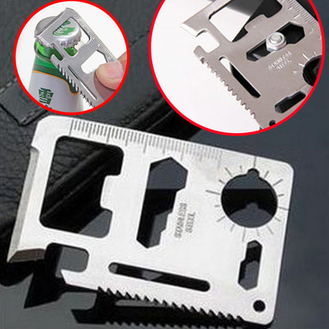 1PC Silver 11 in 1 Multitool Card Multi Purpose Survival Pocket Tool Credit Wallet