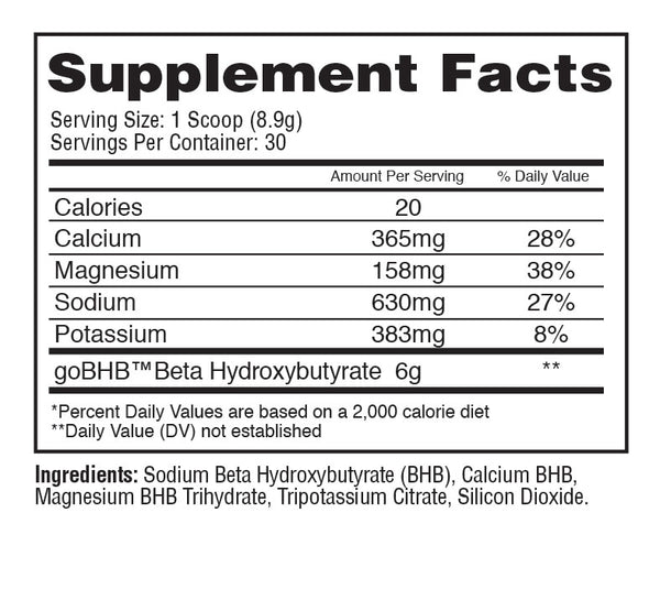 BHB unflavored supplement facts