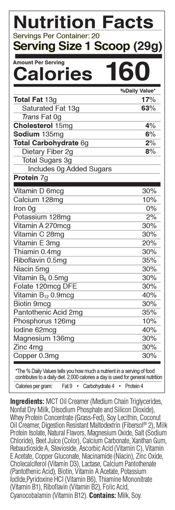 Vanilla MRP nutrition facts