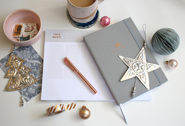 Picture of Ponderlily planner and notepad at Christmas