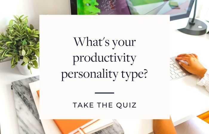 Blog graphic to take the productivity personality type