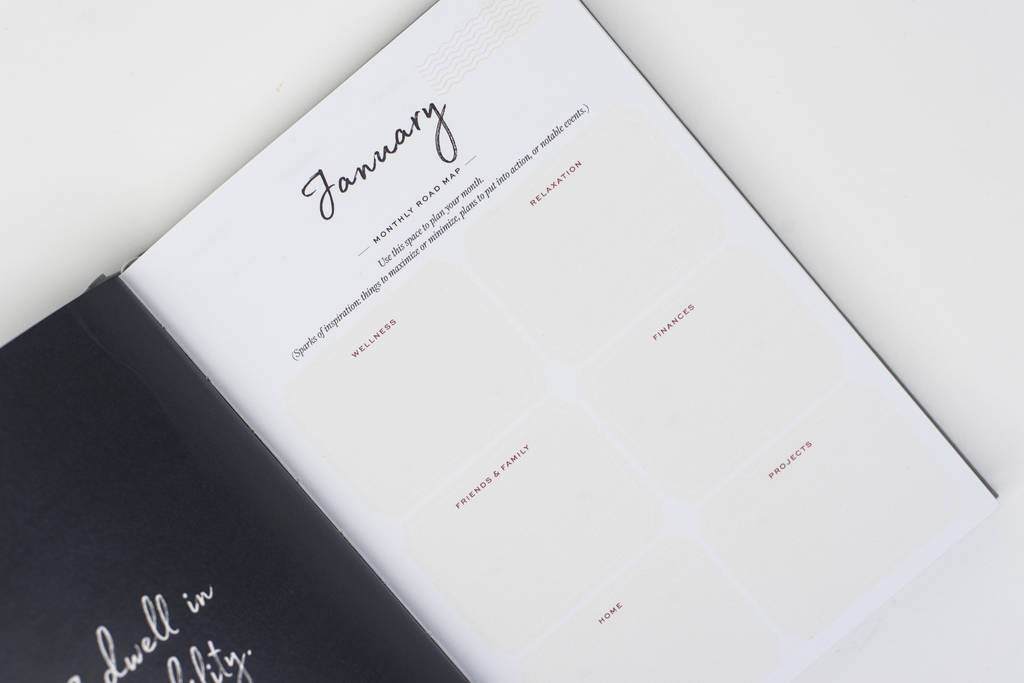 Ponderlily Planner open on January monthly roadmap