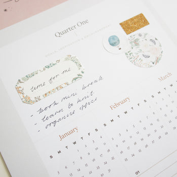 Quarterly inspiration section of the Ponderlily wall calendar