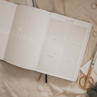 Inspiration board of undated Ponderlily Weekly Planner next to scissors and Meeting calendar