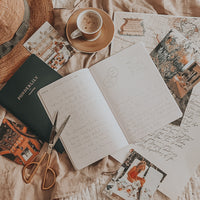 Wrting in opened up Ponderlily travelers journal on top of map and postcards, next to cappuccino & hat