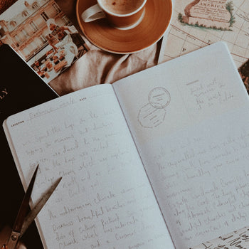 Notes written in opened Ponderlily traveler journal while next to cup of cappuccino atop map