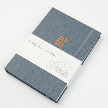 Picture of the 2020 Ponderlily Planner cover in Blue with elastic band enclosure