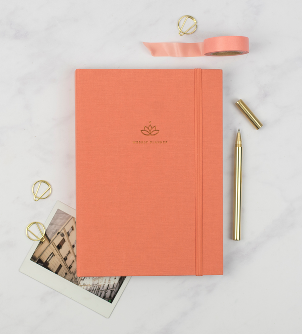 Ponderlily Undated Planner, brass pen & Washi Tape