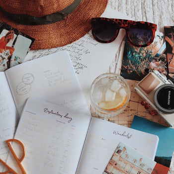 Opened Ponderlily travelers journal with sunglasses, drink, camera and sun hat