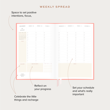 Explainer picture of the weekly spread of the Ponderlily planner