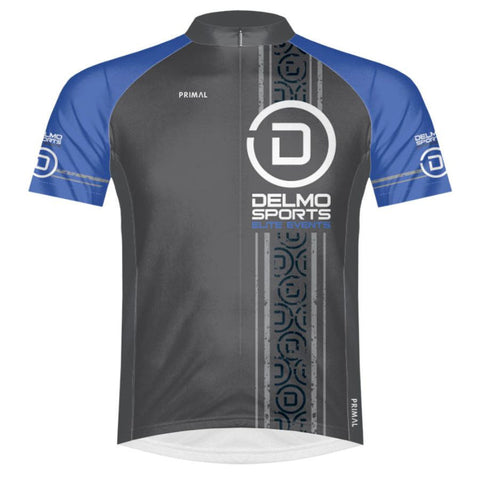 DelMoSports: 'Circle D' Men's SS Full Zip Performance Jersey - Black / Royal - by Primal