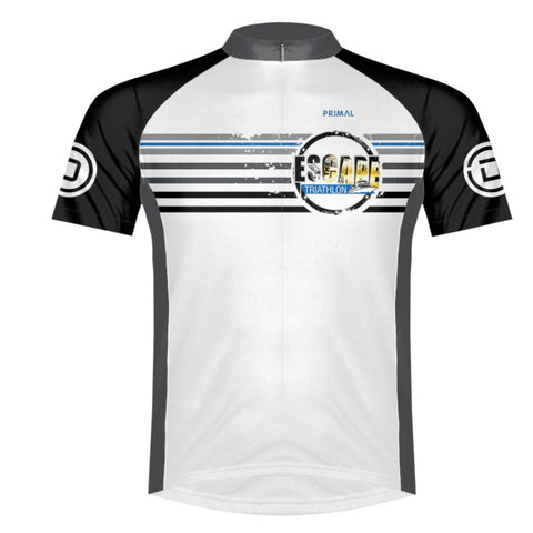 DelMoSports Escape the Cape Tri: 'Event Logo' Men's SS Full Zip Performance Jersey - White / Black - by Primal