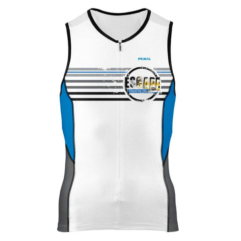 DelMoSports Escape the Cape Tri: 'Event Logo' Men's Sleeveless 3/4 Zip Performance Tri-Top - White / Royal - by Primal