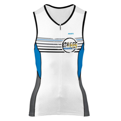 DelMoSports Escape the Cape Tri: 'Event Logo' Women's Sleeveless 3/4 Zip Performance Tri-Top - White / Royal - by Primal