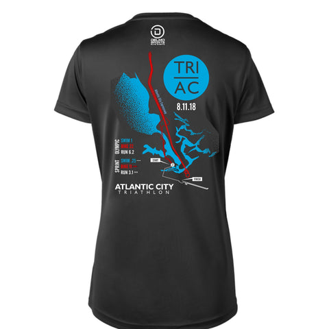 Atlantic City Tri '2018 Map' Women's SS V-Neck Tech Tee - Black - by Augusta