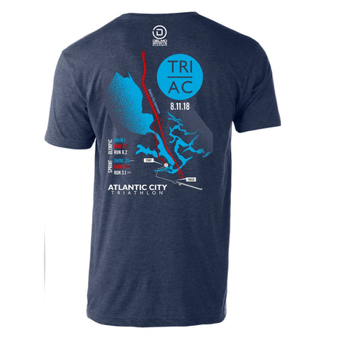 Atlantic City Tri '2018 Map' Men's SS Cotton Tee - Heather Denim - by Tultex