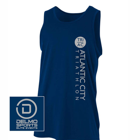 Atlantic City Tri 'Left Chest Print' Men's Tech Tank - Navy - by A4