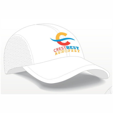 Cotton Unstructured 4-Panel Cap - White Embroidered Event Logo - CrestBest Run Fest