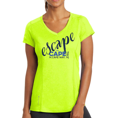 Escape the Cape 'Script' Women's SS 'Pulse' V-Neck Tech Tee - Pace Yellow - by OGIO