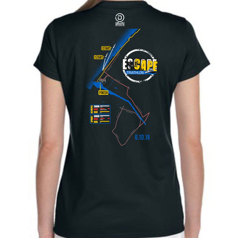 Escape the Cape '2018 Map' Women's SS V-Neck Tech Tee - Black
