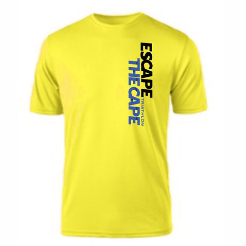 Escape the Cape 'Left Chest Print' Men's SS Tech Tee - Safety Yellow