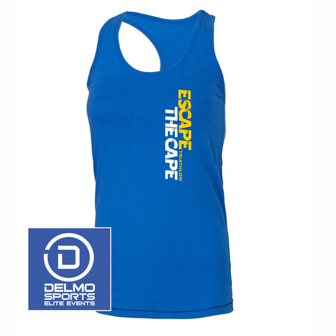'Left Chest Print' Women's Racerback Tri-Blend Bamboo Singlet - Royal - by All Sport