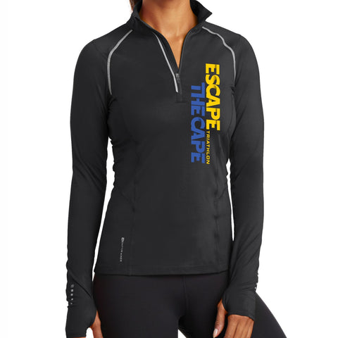 'Left Chest Print' Women's 'Nexus' Pullover Tech 1/4 Zip - Blacktop - by OGIO