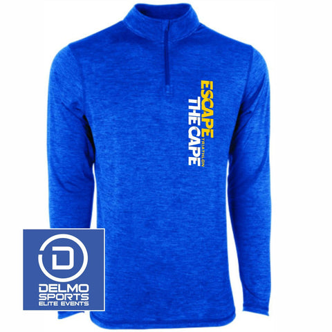 'Left Chest Print' Men's Tech 1/4 Zip - Heathered Royal