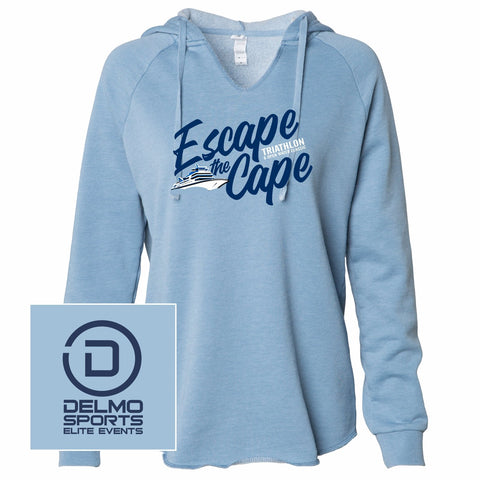 Escape the Cape 'Diagonal' Women's Garment-Washed Hoody - Misty Blue