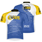 'Ferry' Design Men's Full Zip Performance Jersey - Blue / White/ Yellow - by Primal