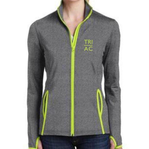 Women's Soft-brushed Full Zip Stretch Jacket - Charcoal Grey / Charge Green