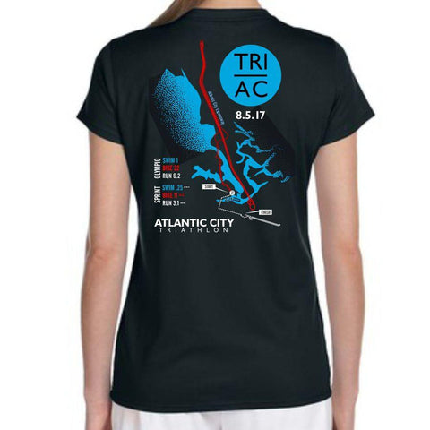 Atlantic City Tri '2017 Map' Women's SS V-Neck Tech Tee - Black