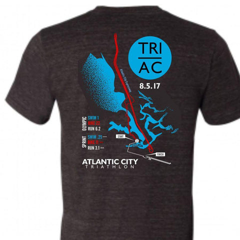 Atlantic City Tri '2017 Map' Men's SS Tri-Blend Tee - Black Heather