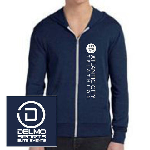 Men's Lightweight Full Zip Tri-Blend Hoody - Navy