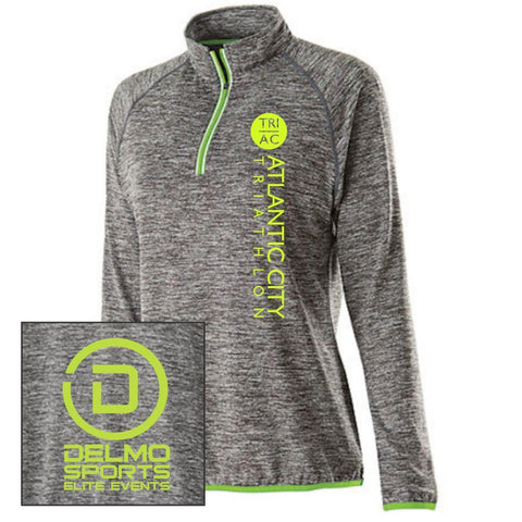Women's Thumbhole Pullover Tech 1/4 Zip - Carbon Heather / Lime