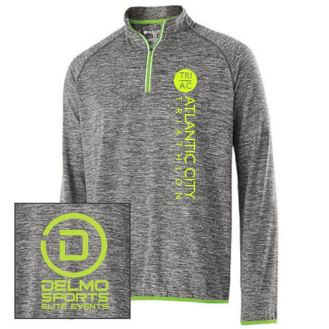 Men's Raglan Pullover Tech 1/4 Zip - Carbon Heather / Lime