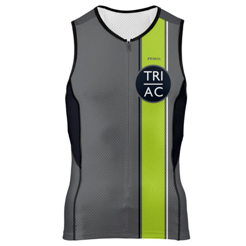 DelMoSports Atlantic City: 'Event Logo' Men's Sleeveless 3/4 Zip Performance Tri-Top - Graphite / Lime - by Primal