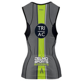 Atlantic City Tri Women's Sleeveless 3/4 Zip Performance Tri-Top - Graphite / Lime - by Primal
