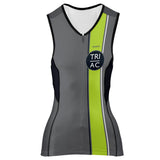 DelMoSports Atlantic City: 'Event Logo' Women's Sleeveless 3/4 Zip Performance Tri-Top - Graphite / Lime - by Primal