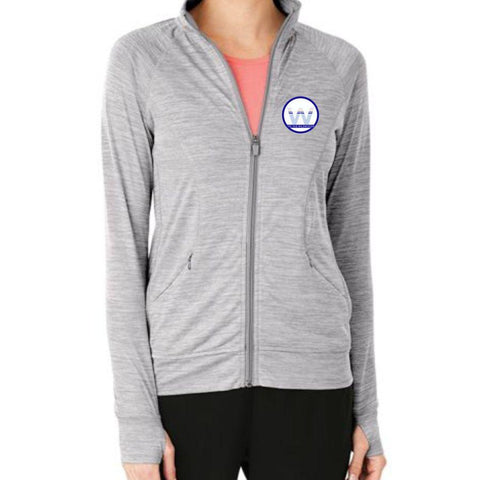 Tri the Wildwoods 'Left Chest Embroidery' Women's Full Zip Tech Jacket - Grey Space Dye
