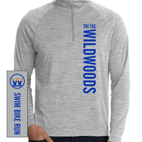 DelMoSports Wildwoods: Men's Space Dye Pullover Tech 1/4 Zip - Grey