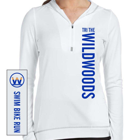 DelMoSports Wildwoods: Women's Hooded Pullover Tech 1/2 Zip - White / Grey
