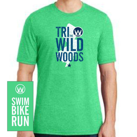 DelMoSports Wildwoods: Men's SS Tri-Blend Tee - Green Frost