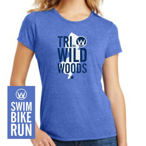 DelMoSports Wildwoods: Women's SS Tri-Blend Tee - Royal Frost