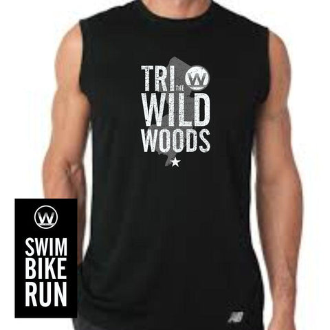 DelMoSports Wildwoods: Men's Sleeveless Tech Tank - Black