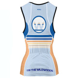 DelMoSports Wildwoods: 'Event Logo' Women's Sleeveless 3/4 Zip Performance Tri-Top - Lt. Blue / Orange / Royal