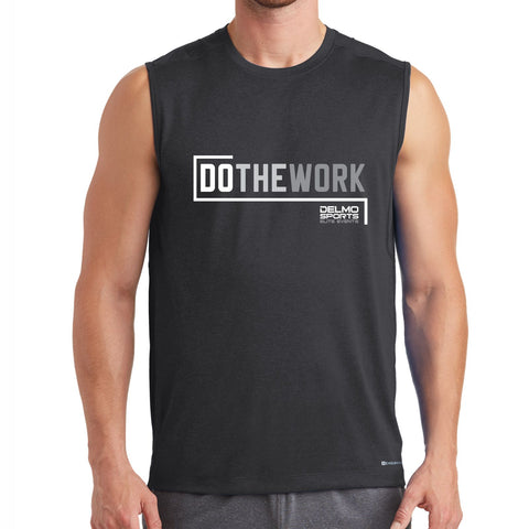 DelmoSports 'Do the Work' Men's Sleeveless Tech Tank - Blacktop, by OGIO