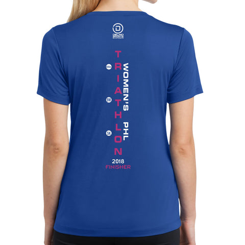 Women's Philadelphia Tri '2018 Course' Women's SS Tech V-Neck Tee - Royal - by Sport-Tek