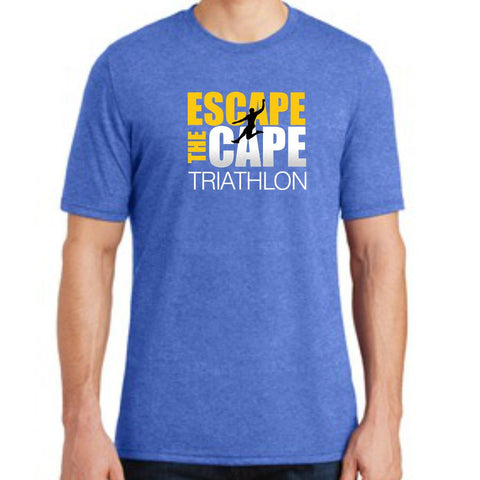 DelMoSports Escape the Cape Tri: 'Jumper' Men's SS Tri-Blend Tee - Royal Frost - by District Made